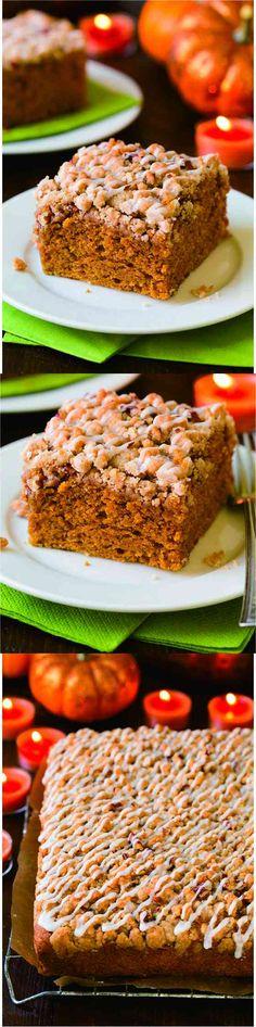 Pumpkin Crumb Cake - cake, cinnamon, crumb, dessert, ginger, nutmeg, pecan, pumpkin, recipes, vanilla