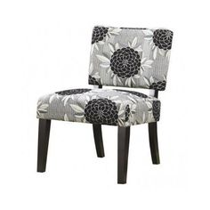 Armless Accent Chair Grey Black Flower Home Living Room Upholstered Furniture #Flowerchair #Contemporary