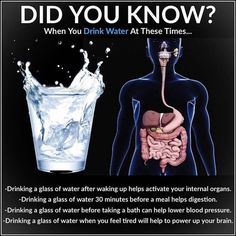 After waking up: Drink one glass of water after waking up to help activate your internal organs. The water will help to remove any toxins… Health Facts, Health Diet, Health And Nutrition, Health And Wellness, Health Fitness, Fitness Facts, Natural Health Remedies, Herbal Remedies, Fitness Workouts