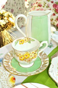 Art deco tea set. Mixed English china in green yellow and gold.