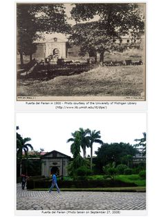 Puerta del Parian in Intramuros, Manila in the 1900s and in 2008.