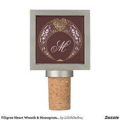 Filigree Heart Wreath & Monogram #3 Wine Stopper
