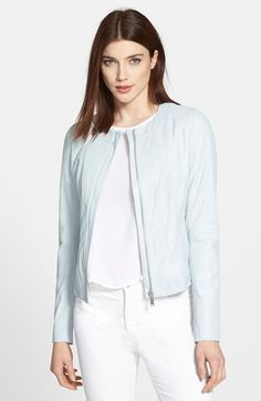 T Tahari Lightweight Collarless Leather Jacket | Nordstrom