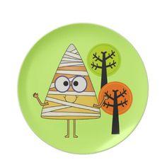 Candy Corn Mummy Halloween Dinner Plates