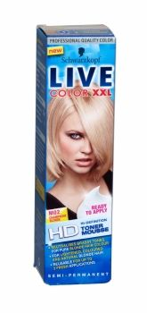 Ready to apply hi-definition toner mousse by Schwarzkopf. Neautralises brassy tones for pure blonde hair colour. For lighte. Schwarzkopf Live Colour, Schwarzkopf Hair, Braids For Short Hair, Short Hair Styles, Live Colour Xxl, Mousse, Champagne Blonde, High Definition, Semi Permanent