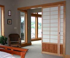 Lovely Wooden Sliding Doors in the Living Room - Sweet Home Sliding Door Room Dividers, Cheap Room Dividers, Office Room Dividers, Fabric Room Dividers, Room Divider Doors, Diy Room Divider, Japanese Sliding Doors, Japanese Door, Wooden Sliding Doors