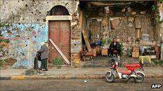 Timeline Lebanon civil war Beirut buildings bearing scars of fighting in Lebanese civil war