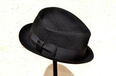 Vintage 50s Black Fedora Felt Hat Mens Dobbs Made in Canada