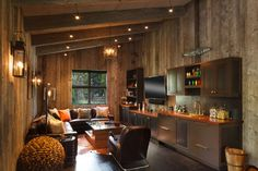 "Owl Ditch Ranch ""Barn"" - rustic - Living Room - Salt Lake City - Carney Logan Burke Architects House Layout Plans, House Layouts, Small House Plans, Latest House Designs, Best Tiny House, Shipping Container House Plans, Metal Building Homes, Building A House, Compact House"