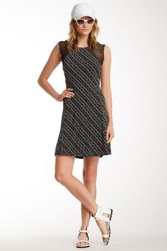 Vince Camuto Graphic Specks Mesh Inset Dress by Vince Camuto on @HauteLook