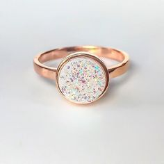 """""""It's back  Rose Gold and Druzy Quartz Ring ✨ Available in our 'Gems and Stones' Collection  #rosegold #rosegoldring #druzy #druzyring"""""""
