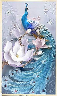 TOCARE Large Diamond Painting Kits for Adults 40x60cm Lucky Bird Full Drill Paint with Diamonds Dotz Home Wall Art Decor Presents for Your Family,Blue Peacock Boy Diy Crafts, Diy Crafts For Adults, Diy Wall Art, Home Wall Art, Wall Art Decor, Chakra Symbole, Diy Room Decor For Girls, Diy Store, 5d Diamond Painting