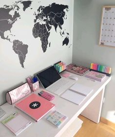Gifts on estudiante_estresada has such an aesthetically-pleasing study corner You can get Japanese Mildliner Style highlighters, notebooks, Cute Bedroom Ideas, Cute Room Decor, Girl Bedroom Designs, Teen Room Designs, Tumblr Bedroom, Tumblr Rooms, Study Room Decor, Study Corner, Aesthetic Room Decor