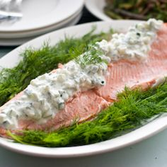 Julia Child's Poached Salmon with Cucumber Sauce for #SundaySupper and #CookForJulia (minus the 1/4 tsp of sugar, this is on plan as an S)