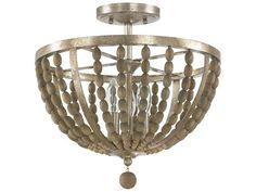 Capital Lighting Donny Osmond Home Lowell Tuscan Bronze with Wood Beads Three-Light 15'' Wide Semi-Flush Mount Light