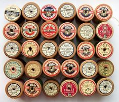 vintage wooden spools of thread . I remember Lily thread. Vintage Sewing Notions, Vintage Sewing Machines, Vintage Sewing Patterns, Craft Patterns, Couture Vintage, Crochet Diy, Wooden Spools, Thread Spools, Sewing Tools