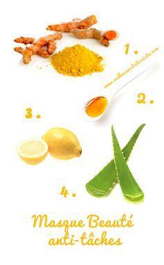 Masque beauté anti-tâches 4 ingrédients: au curcuma, au miel, au citron, et à l'aloe vera.
