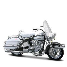 Miniatura Moto Harley-Davidson 1966 FLH Electra Glide Maisto 1:18 - Machine Cult   A loja das camisetas de carro e moto