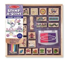 Melissa & Doug Stamp-a-Scene Wooden Stamp Set: Fairy Garden Wooden Stamps, 5 coloured Pencils, and Stamp Pad, cm H x cm W x cm L) Sports Games For Kids, Stamp Pad, Melissa & Doug, Coloured Pencils, Garden Theme, Garden Fun, Craft Activities, Kids Toys, Baby Toys