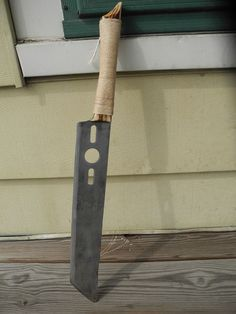Picture of Lawn Mower Blade Knife and Wooden Handle and Sheath
