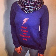 A glitter shoulder cut Keep Calm and Thunder Up by YOStees on Etsy, $32.99