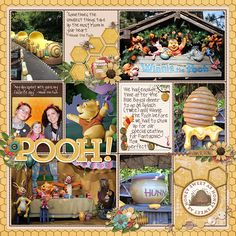 scrapbook layout of The Many Adventures of Winnie the Pooh at Disneyland.