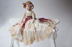 Porcelain doll by Oksana Saharova. Maryshka. porcelain, 65cm. Collection Muses by Alphonse Mucha