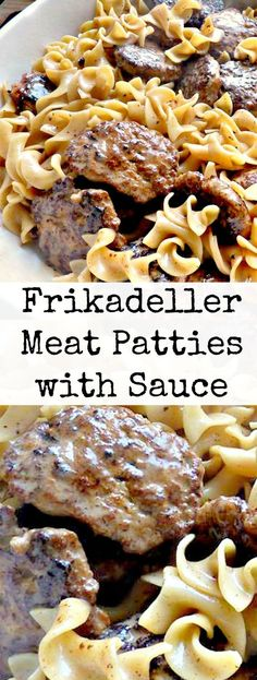 Frikadeller Meat Patties with Sauce. Made with ground meat and a lovely sauce. Delicious served with pasta! Frikadeller Meat Patties with Sauce. Made with ground meat and a lovely sauce. Delicious served with pasta! Ground Beef Recipes, Pork Recipes, Cooking Recipes, Cooking Food, Recipies, German Food Recipes, Danish Recipes, Sauce Recipes, Beef Dishes