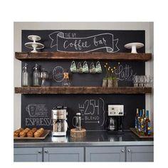 Coffee Bar Station, Coffee Station Kitchen, Coffee Bars In Kitchen, Coffee Bar Home, Home Coffee Stations, New Kitchen, Kitchen Decor, Wine And Coffee Bar, Kitchen Ideas
