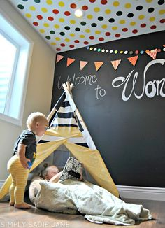 Kids room or play room. Cutting Edge Stencil, chalkboard wall and a teepee! Complete perfection!!!