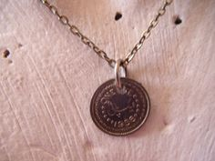 """New Listing Started silvertone 16""""chain with old Pakistani coin pendant from 1956 £0.85"""