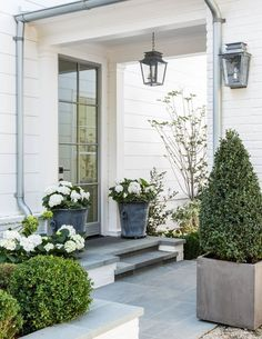 The front door. Beautiful modern farmhouse style exterior inspiration on Hello Lovely Studio Modern Farmhouse Exterior, Modern Farmhouse Style, Farmhouse Front, Rustic Farmhouse, Front Porch Plants, Front Porch Design, Front Entrances, Garden Inspiration, Furniture Inspiration