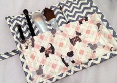 Quilted Fabric Makeup Roll- Martina
