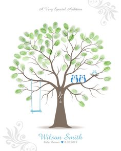 Baby Shower Thumbprint Tree Guest Book Alternative by TJLovePrints, $47.00