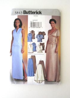 2000s Evening Dress Pattern Butterick 3843 Womens Formal Top and Skirt Sewing Pattern Prom Mother of the Bride Dress Pattern Size 8-12 Bust by QuiltCitySue on Etsy https://www.etsy.com/listing/384398476/2000s-evening-dress-pattern-butterick