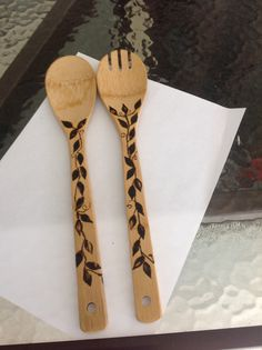 Salad set ooak wood burning