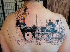 Abstract tattoo artist Xoil combines an old photograph of a horse carriage with text