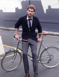 Grey pants, skinny tie, cardigan