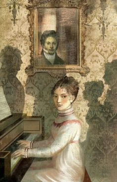 """Elizabeth playing the piano. Illustration by Anna and Elena Balbusso. Introduction by Sebastian Faulks. Pride and Prejudice. Jane Austen.Folio Society, London, 2013.""""You mean to frighten me, Mr. Darcy, by coming in all this state to hear me? But I will not be alarmed though your sister does play so well. There is a stubbornness about me that never can bear to be frightened at the will of others. My courage always rises with every attempt to intimidate me."""" - Pinterest"""