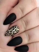 Black almond nails with an accent gold leopard - Nails - . - Black almond nails with an accent gold leopard – Nails – gold lopa… – - Black Almond Nails, Matte Black Nails, Almond Acrylic Nails, Gold Nails, Stiletto Nails, Almond Nails Designs, Black Nail Designs, Accent Nails, Gel Nagel Design