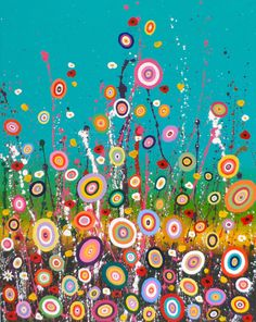 Bright Abstract Flower Painting by ShabbyVagabonds on Etsy, £350.00