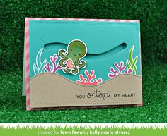 Lawn Fawn Intro: Octopi My Heart, Fancy Scalloped Stackables Octopus Card, Origami, Lawn Fawn Blog, Slider Cards, Lawn Fawn Stamps, Interactive Cards, Bullet Journal, Card Sketches, Copics