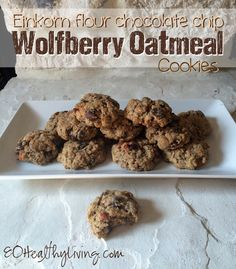 Einkorn Flour Chocolate Chip Wolfberry Oatmeal Cookies