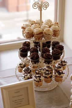 Pretty Cupcake Tower for the Sweet Owl Baby Shower