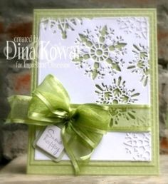 Snowflakes Die Set Christmas Card...with lovely green ribbon & bow...Dina: io stamps.