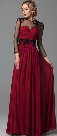 Elegant Long Sleeves Sheer Top Evening Gown