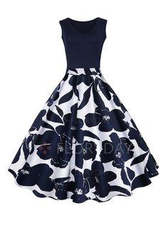 Vestidos de - $40.99 - Algodão Floral Sem magas Altura do Joelho Informal Vestidos de (1955143400)