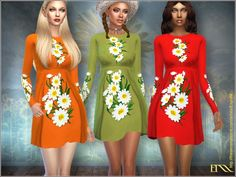 Sunflower dress by EsyraM at TSR via Sims 4 Updates Check more at http://sims4updates.net/clothing/sunflower-dress-by-esyram-at-tsr/