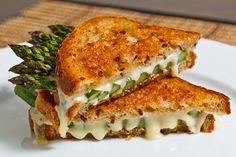 Asparagus grilled cheese sandwich      http://www.closetcooking.com/2010/06/asparagus-grilled-cheese-sandwich.html