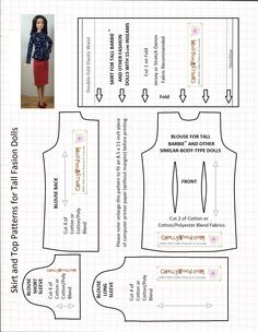 Image of sewing pattern for a shirt (with either long sleeves or short sleeves) and a pencil skirt. Patterns are designed to fit Mattel's Tall Barbie, and there's an image of her wearing a pencil skirt and the long-sleeved top.